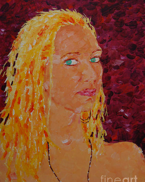 Portraiture Poster featuring the painting Green Eyed Lady by Art Mantia