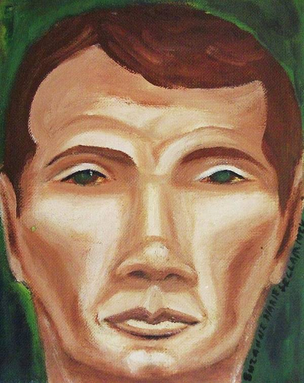 Man Poster featuring the painting Green Eyed Stranger by Suzanne Marie Leclair