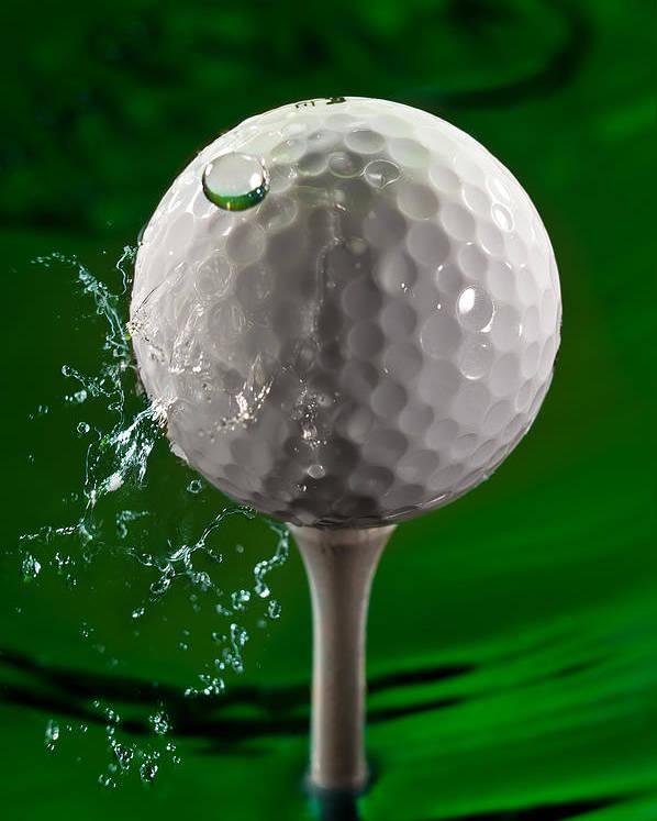 Golf Poster featuring the photograph Green Golf Ball Splash by Steve Gadomski