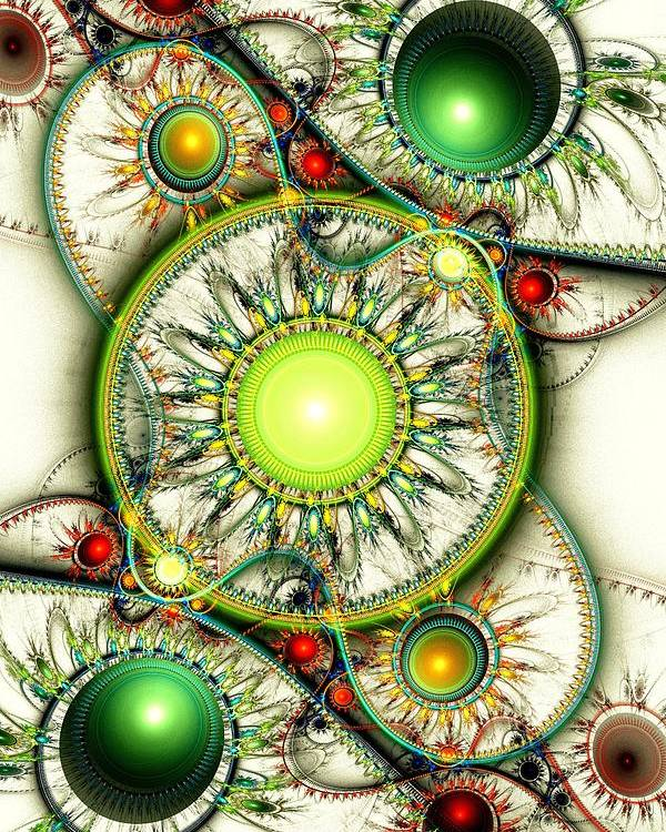 Computer Poster featuring the digital art Green Jewelry by Anastasiya Malakhova