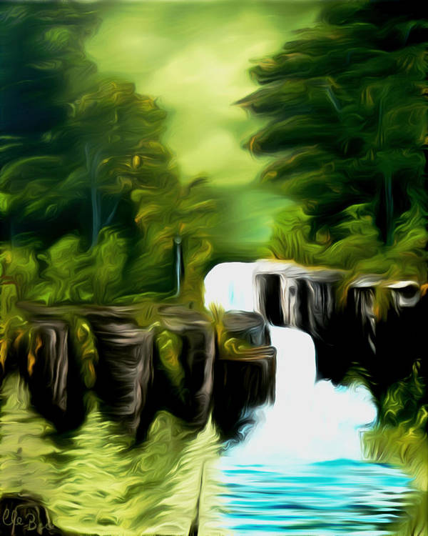 Green Mist Poster featuring the painting Green Mist Fantasy Falls Dreamy Mirage by Claude Beaulac