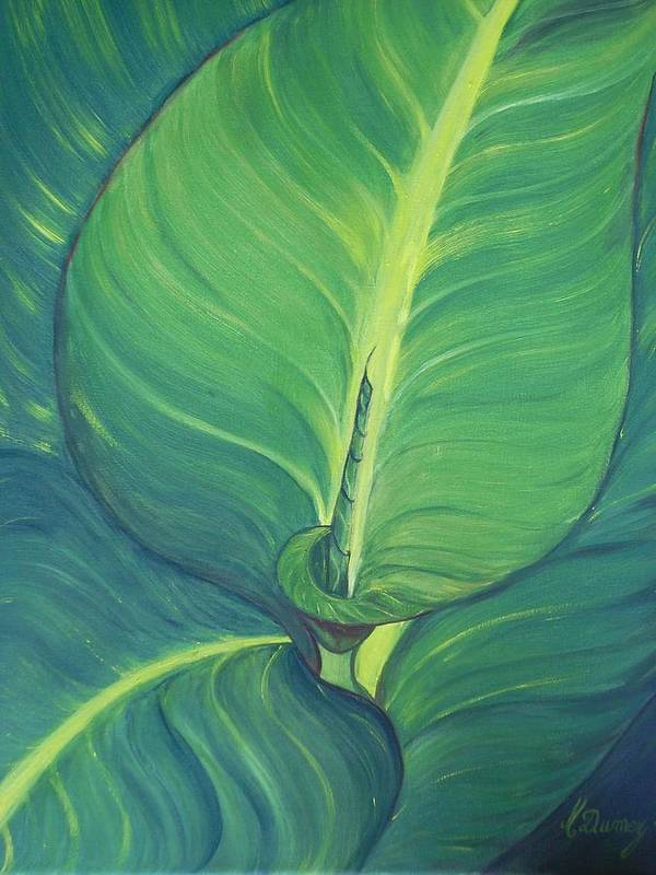 Leaves Poster featuring the painting Green by Murielle Hebert
