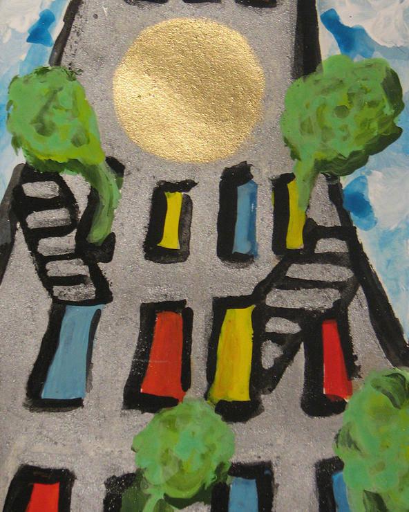 Urban Art Poster featuring the painting Green Ny by Krisztina Asztalos