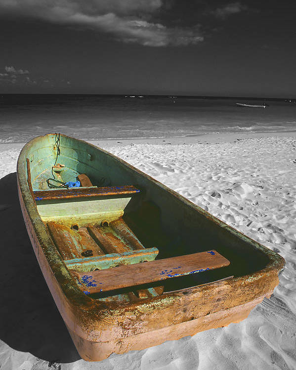 Photography Poster featuring the photograph Green Paddle Boat Playa Del Carmen by Tom Fant