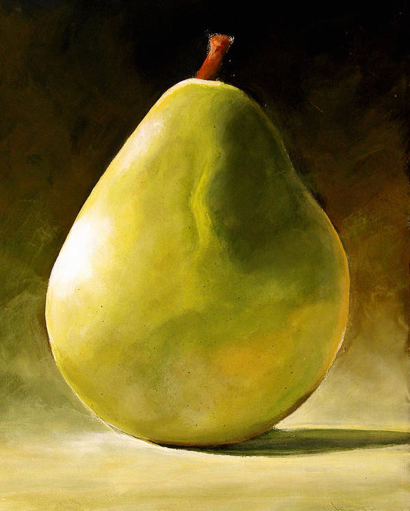 Green Poster featuring the painting Green Pear by Toni Grote