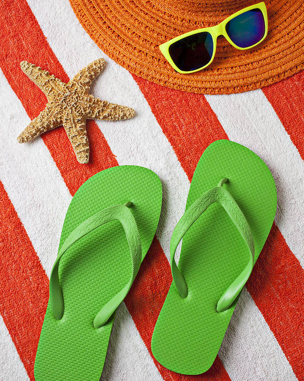 Green Sandals Beach Towel Poster featuring the photograph Green Sandals On Beach Towel by Garry Gay