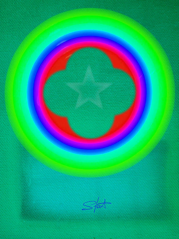 Abstract Poster featuring the painting Green See by Charles Stuart