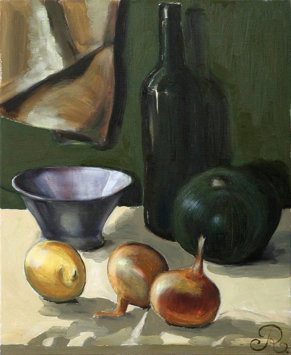 Still-life Green Yellow Cucurbit Lemon Onion Poster featuring the painting Green Still-life by Raimonda Jatkeviciute-Kasparaviciene