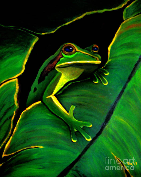 Frog Poster featuring the painting Green Tree Frog And Leaf by Nick Gustafson