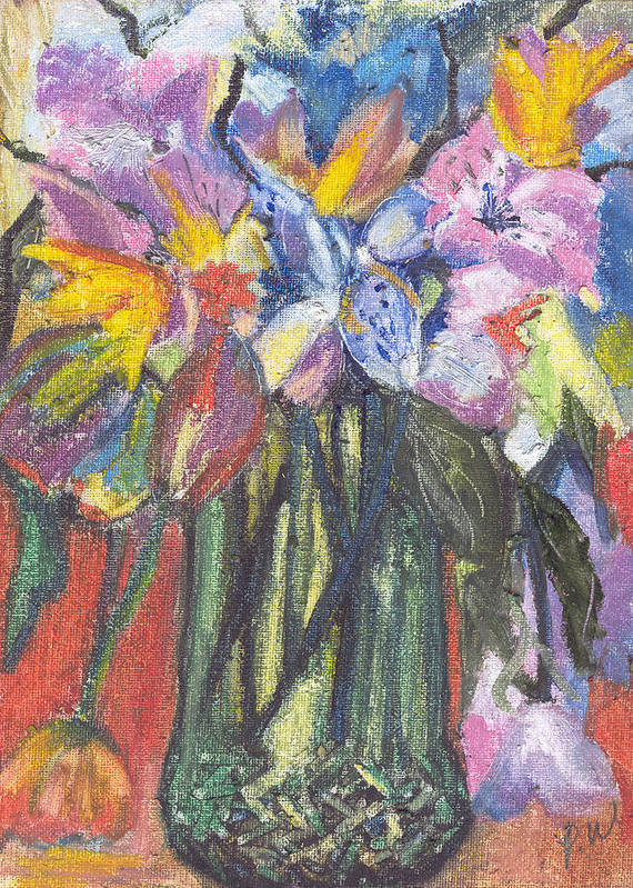 Oil Pastels Poster featuring the painting Green Vase by Pamela Wilson