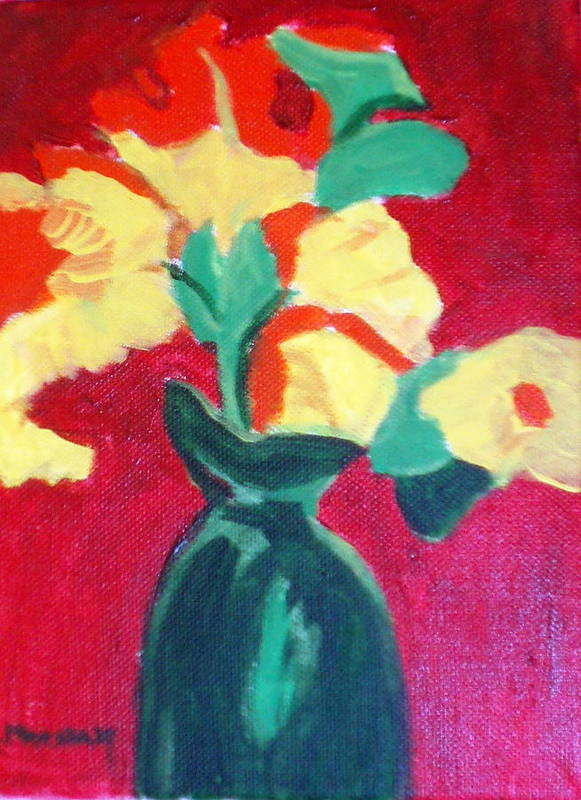 Vase Flowers Poster featuring the painting Green Vase With Flowers by Lia Marsman