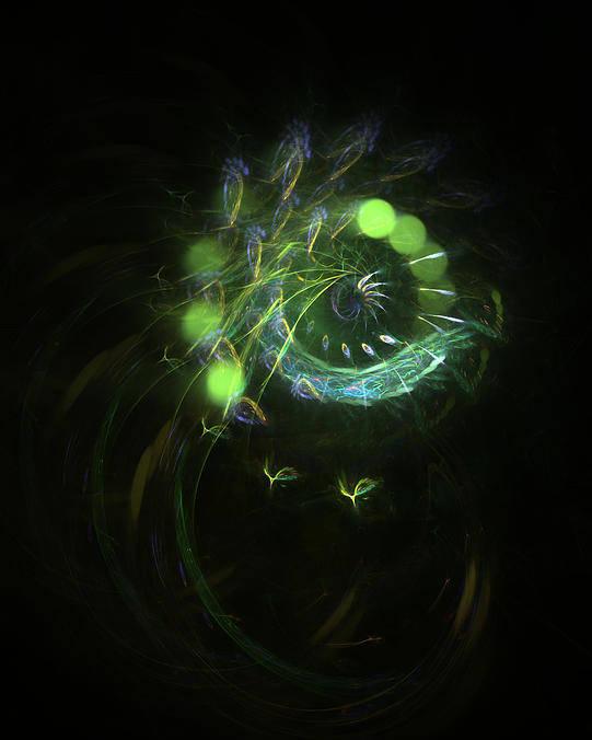 Abstract Poster featuring the digital art Green Vortex - Panel 3 by AGeekonaBike Fine