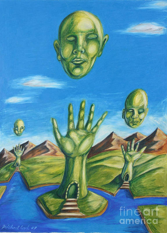 Surreal Landscape Poster featuring the drawing Reach For The Mind by Michael Cook