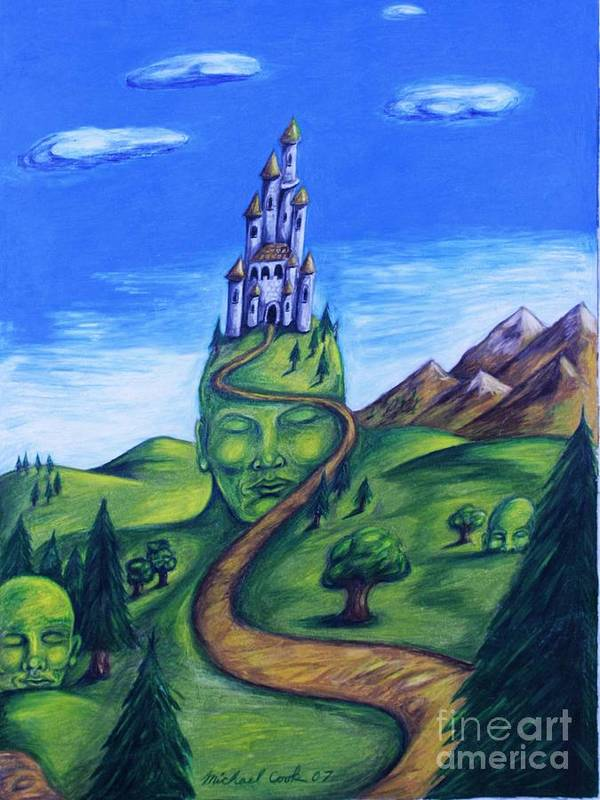 Green Surreal Landscape Castle Poster featuring the drawing Summer Home by Michael Cook