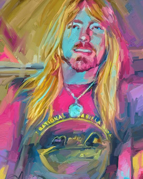Gregg Allman Music Portrait Musician Rock Poster featuring the digital art Gregg by Scott Waters