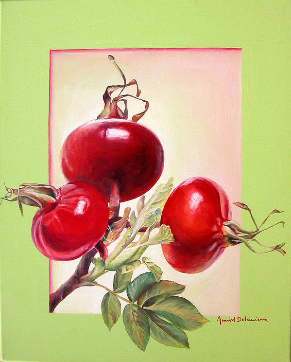 Still Life Poster featuring the painting Grenadine by Muriel Dolemieux