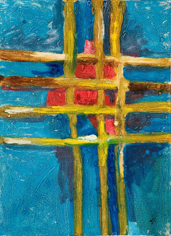 Abstract Poster featuring the painting Grid St Yellow Captures Red by John Toxey