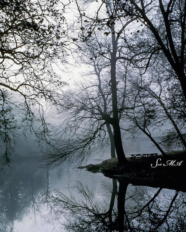 Grings Mill Recreation Area Poster featuring the photograph Grings Mill Fog 1043 by Scott McAllister