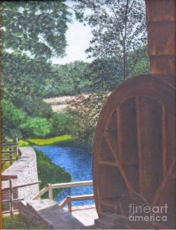 Painting Poster featuring the painting Grist Mill by Donald Hofer