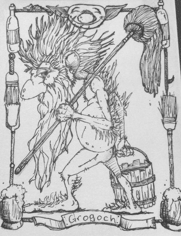 Fae Poster featuring the drawing Grogoch by Jason Strong