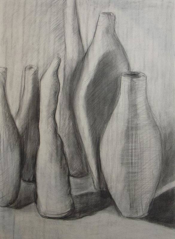 Original Drawing Leilaatkinson Pencil Vessels Bottles Poster featuring the drawing Group Of Vessels by Leila Atkinson