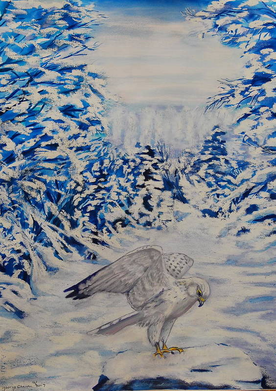 Winter Scenes Poster featuring the painting Gryfalcon in Taos by George Chacon
