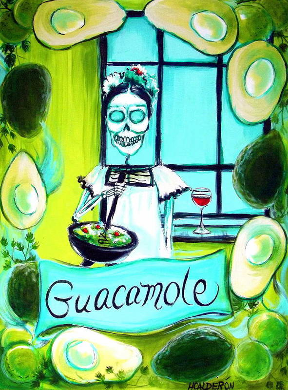 Day Of The Dead Poster featuring the painting Guacamole by Heather Calderon