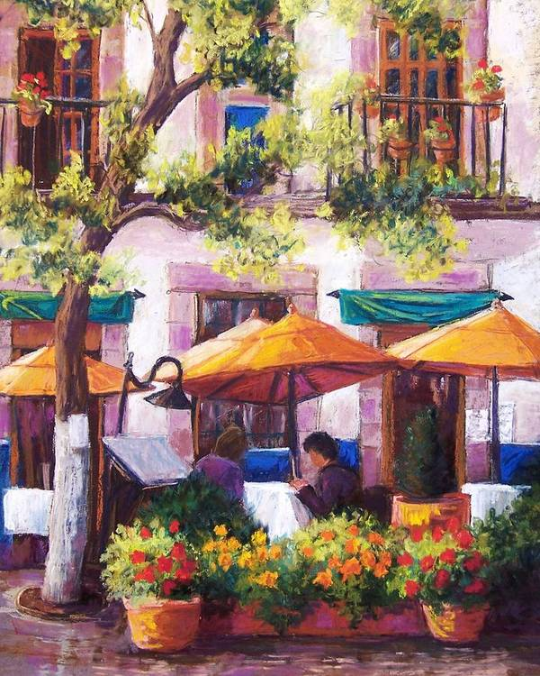 Sidewalk Cafe Poster featuring the pastel Guanajuato Cafe by Candy Mayer