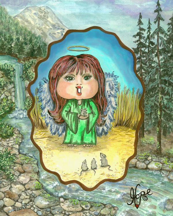 Angel Poster featuring the painting Guardian Angel Gentleness by Carolyn Hope