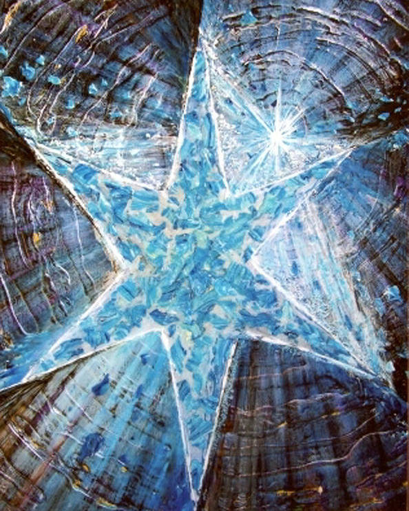 Heavy Texture Mosaic Six Point Star Multi Level Blue Poster featuring the painting Guiding Light by Pam Ellis