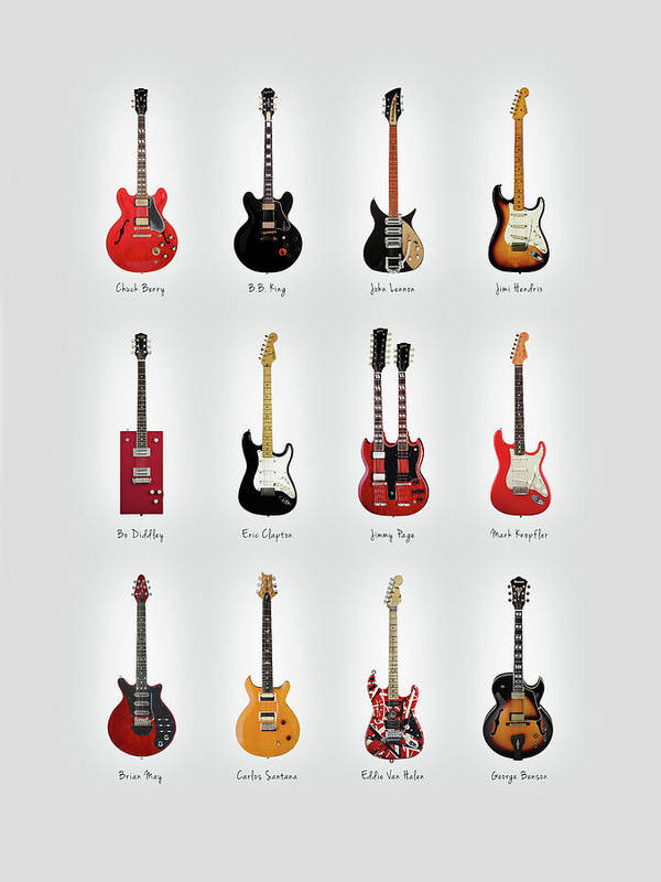 Fender Stratocaster Poster featuring the photograph Guitar Icons No1 by Mark Rogan