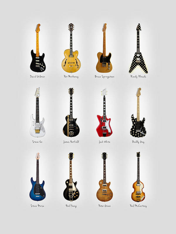 Fender Stratocaster Poster featuring the photograph Guitar Icons No2 by Mark Rogan