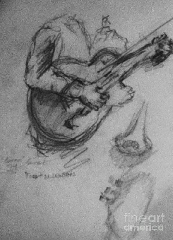 Guitarist Drawing Poster featuring the drawing Guitarist by Jamey Balester