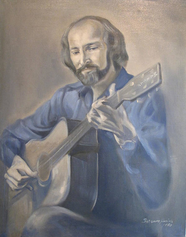 Oil Portrait Poster featuring the painting Guitarist by Suzanne Cerny