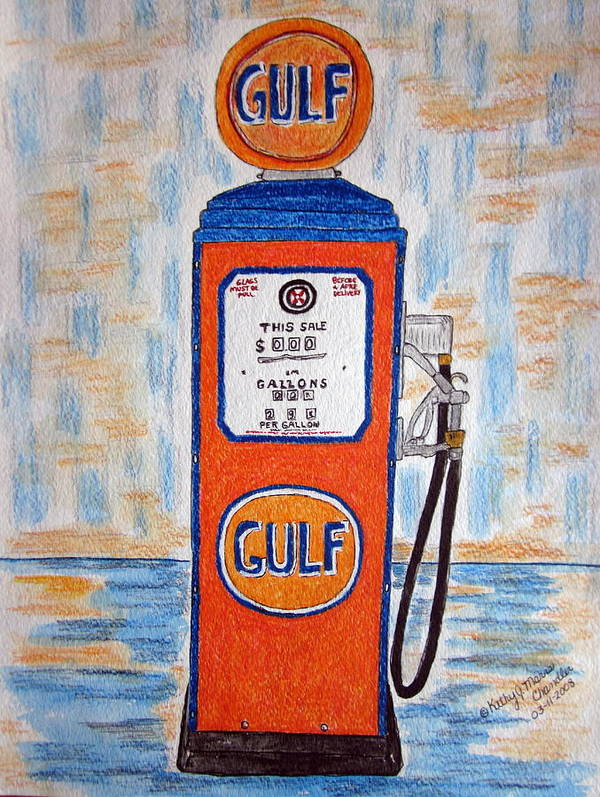 Vintage Poster featuring the painting Gulf Gas Pump by Kathy Marrs Chandler