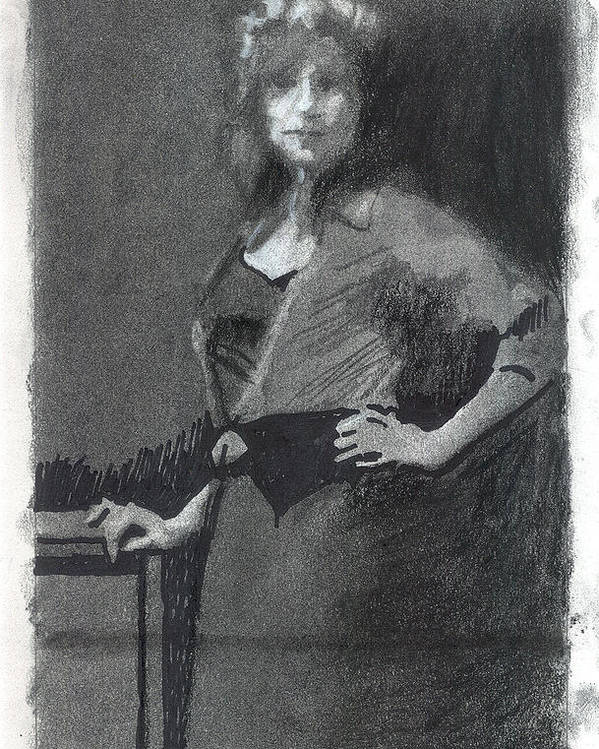 Figure Poster featuring the drawing Gypsy A Study by Robert Bissett