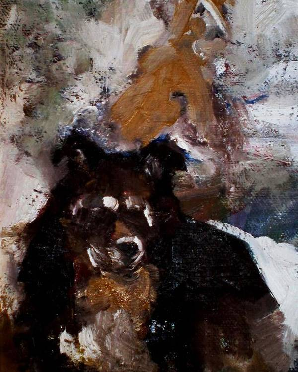 Dog Figurative Impressionistic Poster featuring the painting Gypsy Dog by Renee Rowe