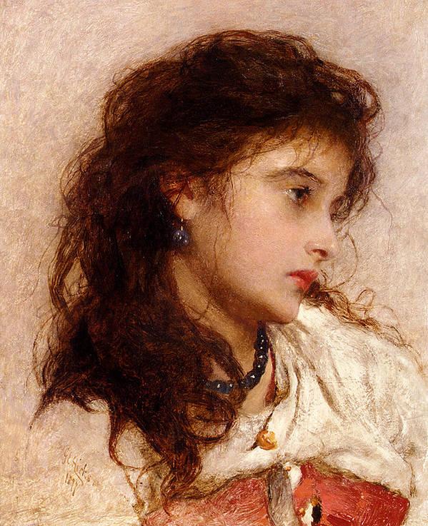 George Elgar Hicks Poster featuring the digital art Gypsy Girl by George Elgar Hicks