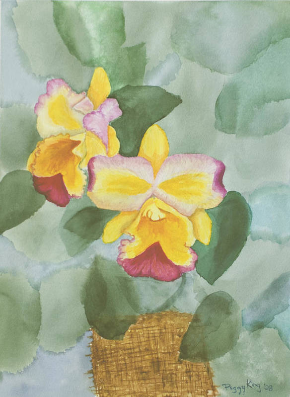 Orchids Poster featuring the painting Gypsy Orchids by Peggy King