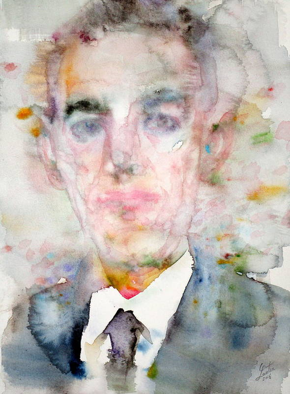 Lovecraft Poster featuring the painting H. P. Lovecraft - Watercolor Portrait.3 by Fabrizio Cassetta