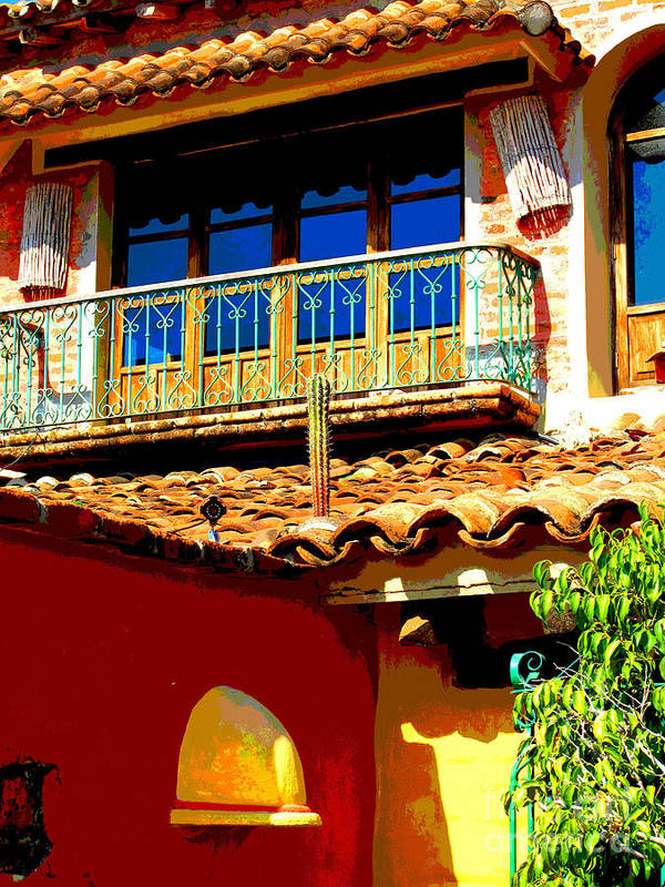 Darian Day Poster featuring the photograph Hacienda Balcony By Darian Day by Mexicolors Art Photography