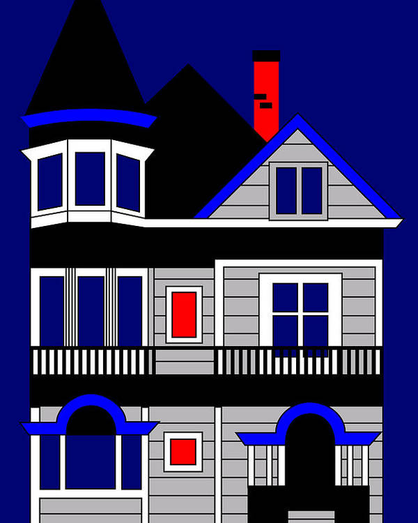 Victorian House Poster featuring the painting Haight Street San Francisco by Asbjorn Lonvig