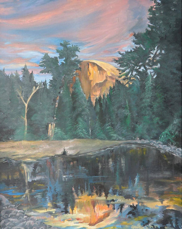 Sunset Poster featuring the painting Half Dome Sunset by Travis Day