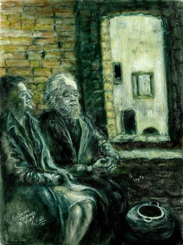 Portrait Of Elderly Couple Poster featuring the painting Half Full Or Half Empty by Suzanne Reynolds