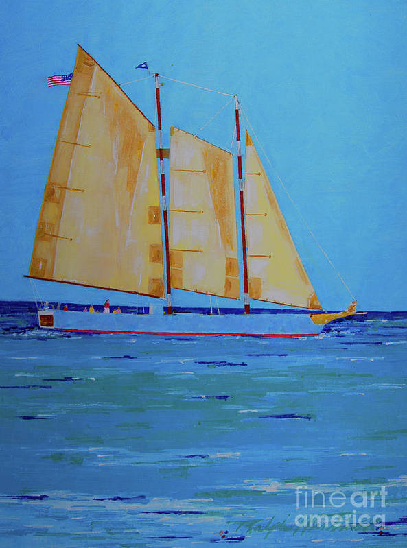 Beach Poster featuring the painting Halifax Keys Schooner by Art Mantia
