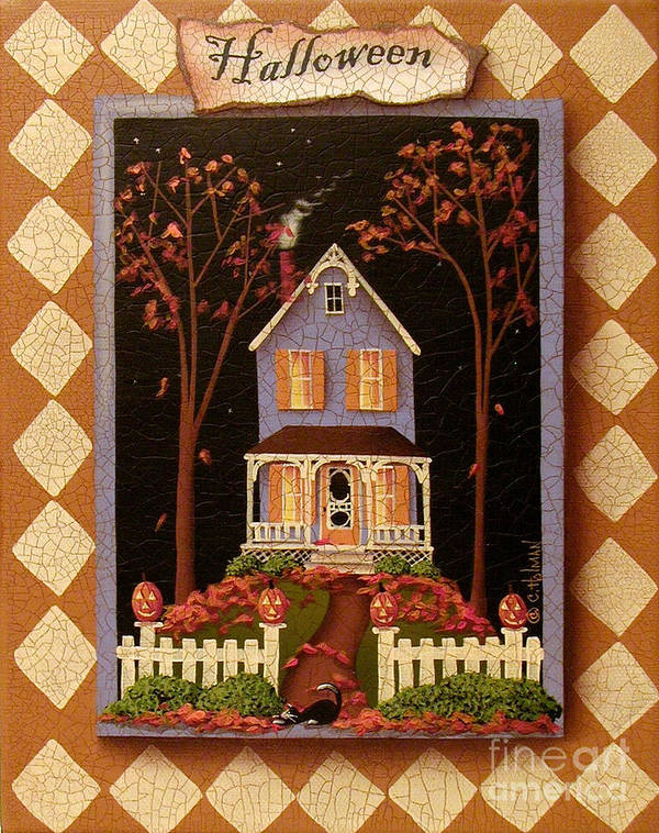 Art Poster featuring the painting Halloween Hill by Catherine Holman