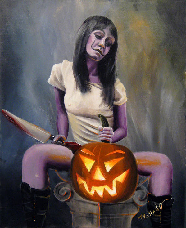 Pinup Poster featuring the painting Halloween by Matt Truiano