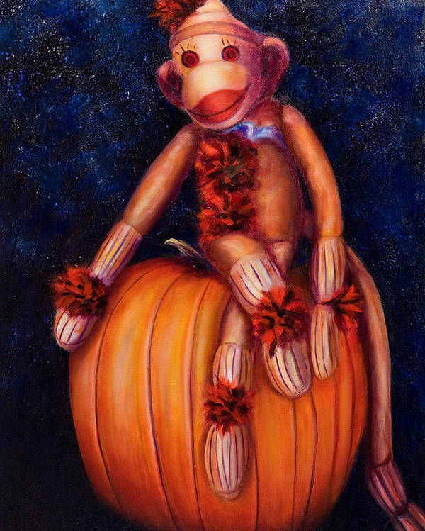 Pumpkin Poster featuring the painting Halloween by Shannon Grissom
