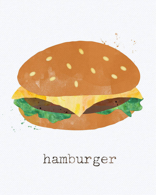 Hamburger Poster featuring the painting Hamburger by Linda Woods