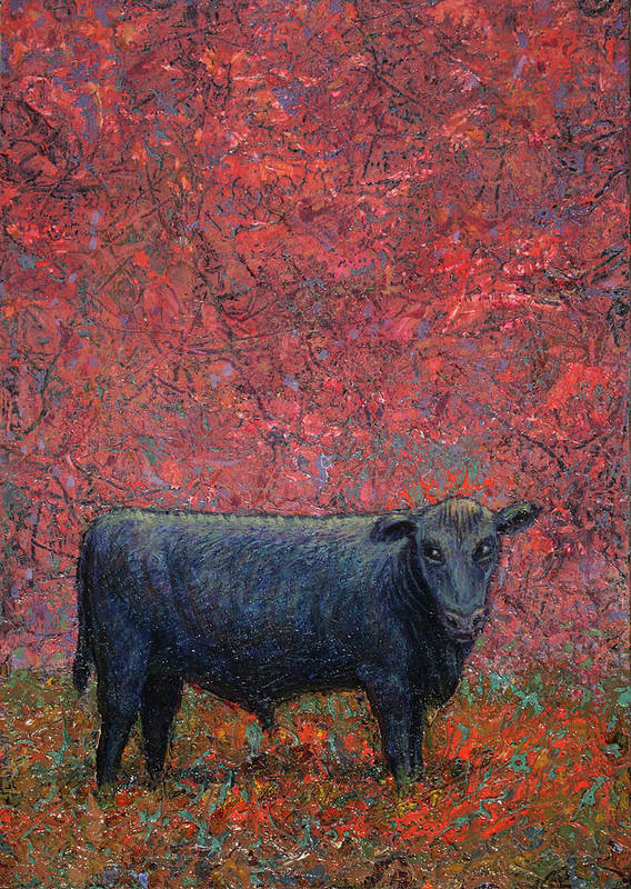 Cow Poster featuring the painting Hamburger Sky by James W Johnson
